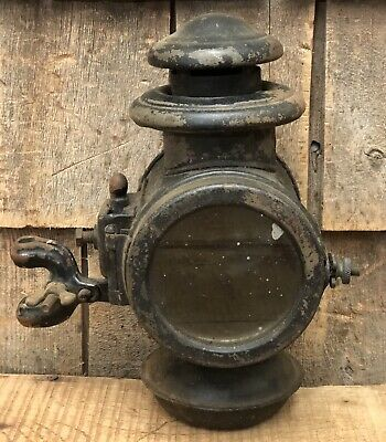 Antique Brass Auto Car Carriage Buggy Lamp Light Lantern With Bracket