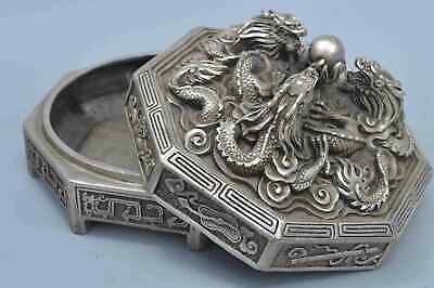 Collectable Handwork Old Miao SIlver Carve Ancient Dragon Exorcism Lucky Box