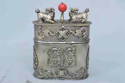 Collectable Handwork Miao Silver Carve Dragon Phoenix Play Bead Toothpick Box