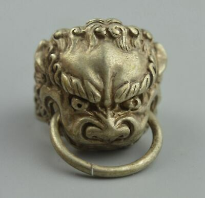 Chinese Handwork Collectable Old Miao Silver Carve Lion Bite Annulus Lucky Ring