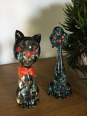 Vintage Paua Shell Crystal Craft Abalone Cat Dog Retro Ornaments