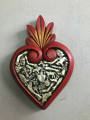 "Hand Made Milagros Wood Heart , Hand Carved ,Painted , Gifts  9"" X 6"""
