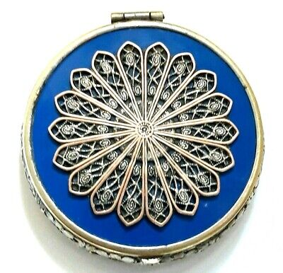 Vintage Art Deco EJ Co Small Vanity Compact With Blue Enamel & Siver Inset. See!