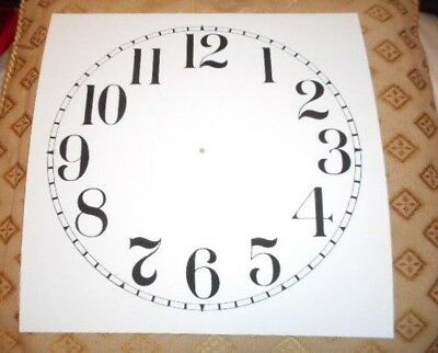 "Large Paper (Card) Clock Dial - 11"" M/T - Arabic - MATT WHITE - Parts/Spares"