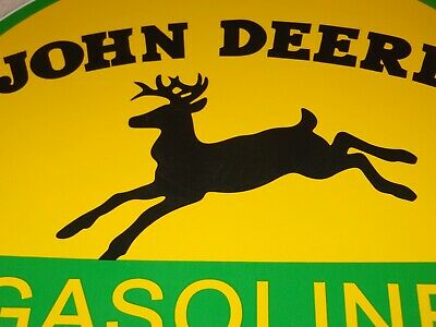 "Vintage John Deere Tractor Gasoline + Deer  11 3/4"" Porcelain Metal Gas Oil Sign"