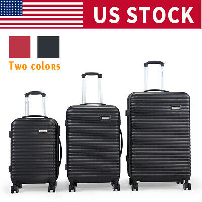 BHC 3PCS Luggage Bag Carry On Set Trolley Suitcase ABS+PC w/Cover Travel Spinner