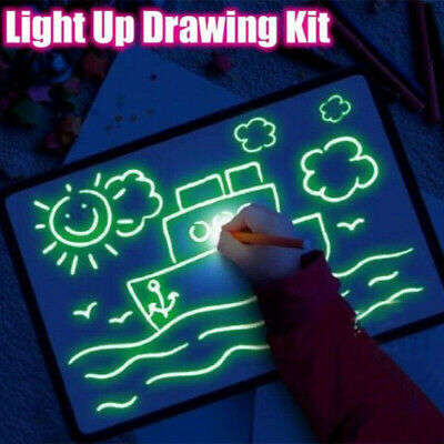 AU A4 Light Up Drawing Board Draw Sketchpad Board Kids Developing Toy Gift + Pen