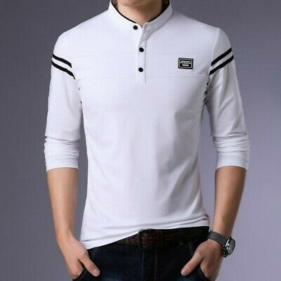 Men CUtton Stand Collar Solid Slim Youth Trendy Long Sleeve Basic Shirts Blouses
