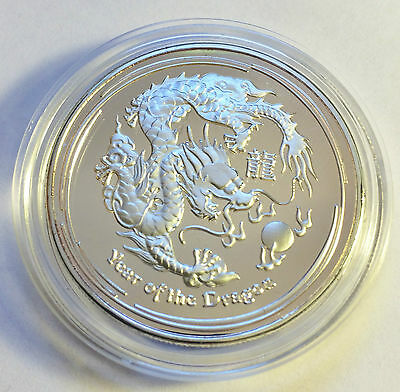 "2012 1 Ounce ""Year Of The Dragon"" Coin Finished in 999 Fine Silver in Capsule"