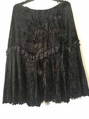VINTAGE  gypsy  style RENE BLACK  CRUSHED VELVET SKIRT SIZE XL