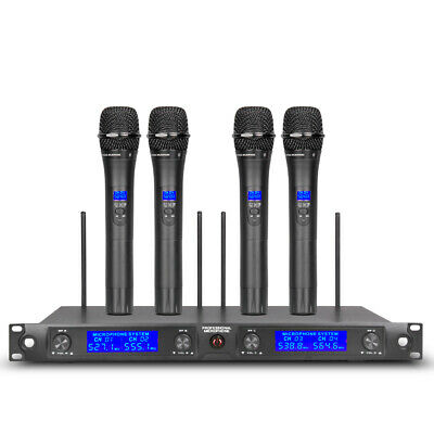 Wireless Microphones System Pro UHF 4 channel Karaoke Audio 4 handheld Metal Mic