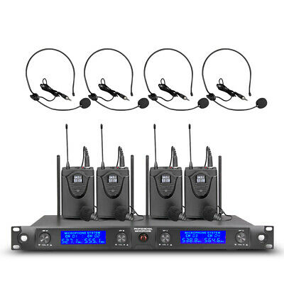 Pro UHF Wireless Microphone System 4 Channel Bodypack Lapel Mic Headset Karaoke