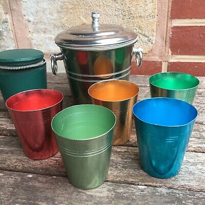 Vintage Retro Anodised Aluminium Cup Set With Case And Lidded Ice Bucket