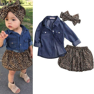 Toddler Kids Baby Girls Outfits Floral Clothes Denim Shirt Tops +Tutu Dress Sets