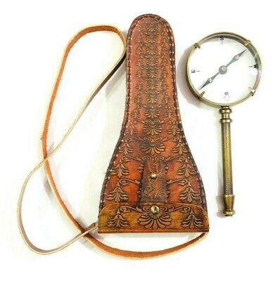 Antique Brass Handheld Magnifying Glass with Compass Nautical Magnifier in Cover
