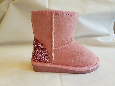 Girls Infant Ella Faux Suede Boots With Glitter Heel And Faux Fur Lining