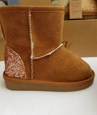 Girls Ella Faux Suede Glitter Heel Boots With Faux Fur Lining colour chestnut