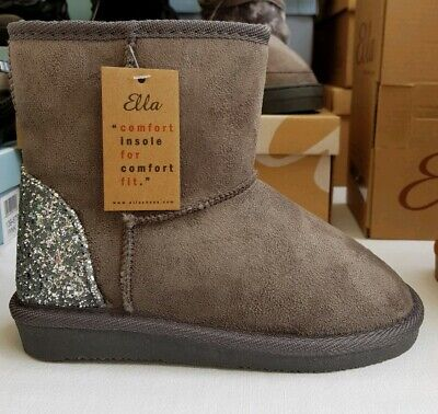 Girls Ella Infant Faux Suede Boots With Glitter Heel And Faux Fur Lining