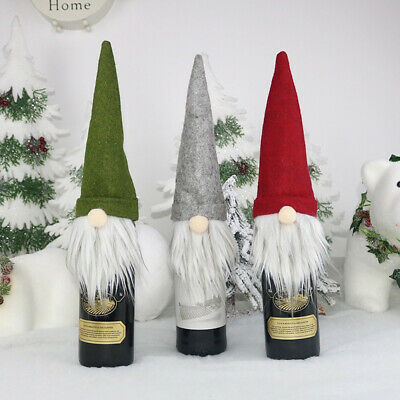 Christmas Wine Bottle Cover Decorations For Home Claus Snowman Stocking Gift