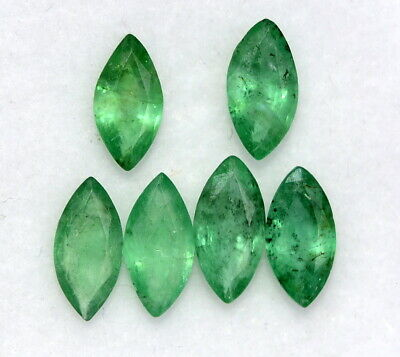 1.86 Cts Natural Emerald Marquise Cut 7x3.50 mm Lot 06 Pcs Faceted Gemstones