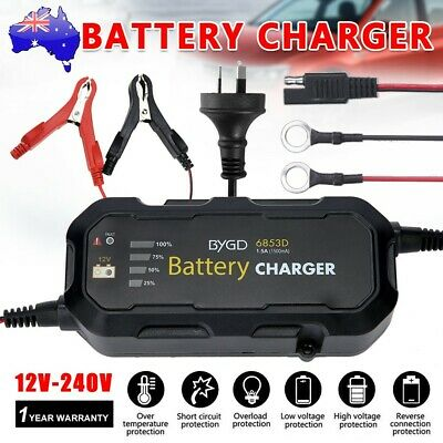 1.5A 12V Smart Battery Charger Automatic SLA AGM Car Truck Boat Motorcycle