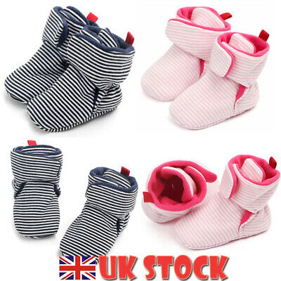 Newborn Baby Toddler Girl Boy Kid Anti-slip Crawling Socks Shoes Ankle Boots UK