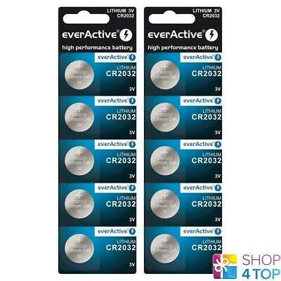 10 Everactive Cr2032 Lithium Cell Batteries 3V Coin Button Dl2032 Exp 2029 New