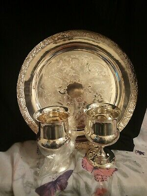 Beautiful Vintage Silver Plated Tray And Five Goblets                         18