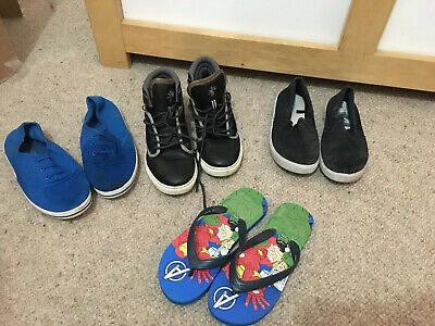 Boys Kids Next Black High Tops Sz 1 Plus Canvas Flats & Marvel Flip Flop Shoes