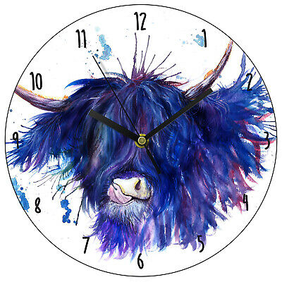 HIGHLAND COW Round Wooden Wall Clock KITCHEN LOUNGE CHILDRENS BEDROOM
