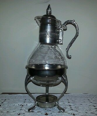 Vtg Glass Coffee Carafe & Matching Silver Plated Warming Stand