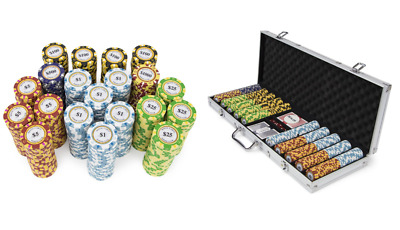 500 pc Chips with Aluminum Case for Poker Texas Hold 'em, Gambling & Casino Game