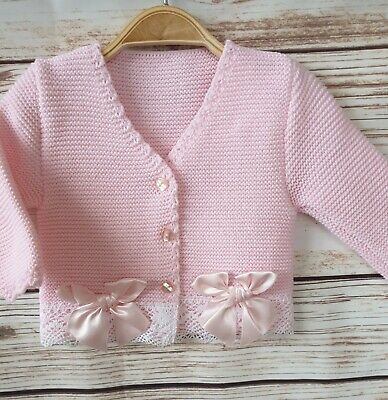 Spanish style baby Girls cardigan Lace pink white Bow 0-3m 3-6m 6-9 months