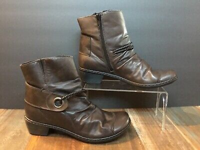 RIEKER REAL LEATHER Womens Boots BrownTan Size 37