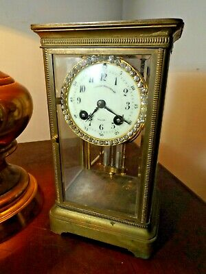Antique 1800s French Brass & Glass Bejewelled Crystal Regulator by Japy Freres