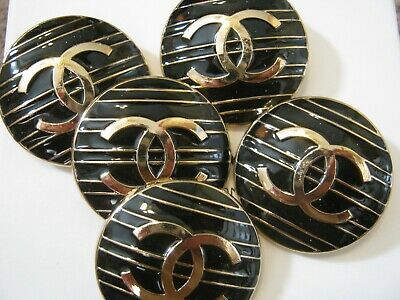 CHANEL  2 CC  MATTE GOLD BLACK 30mm LARGE BUTTONS THIS IS FOR TWO
