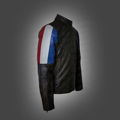 Cafe Racer Brown French Flag Men's Genuine Leather Biker New Style Jacket 2019