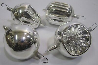 4 Vtg Mercury Glass Christmas Ornaments Xmas Silver Reflective Hand Blown J1