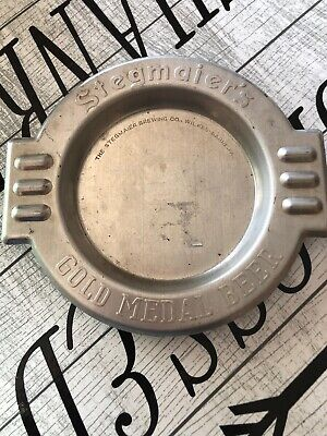 Vintage 1940's Stegmaier Beer Bar Tavern Embossed Aluminum Ashtray Gold Medal