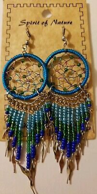 Spirit Of Nature Blue/G Large Dream Catcher Seed Beads Handmade Hook Earrings!