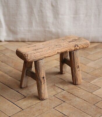 Small vintage Rustic Folky Elm Wooden Milking Stool