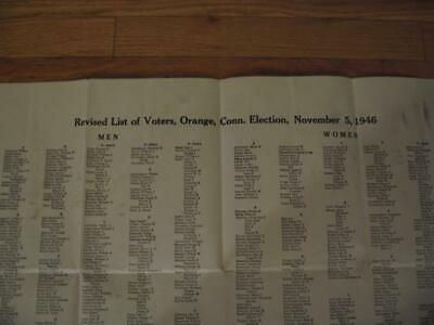 Rare 1946 Orange Connecticut Revised List Of Voters 24 X 28