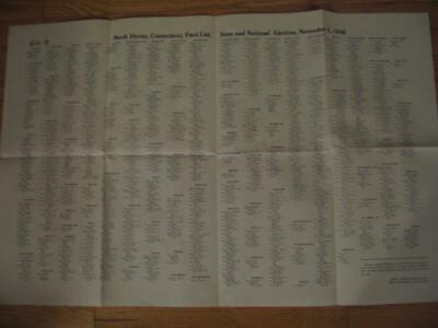 Rare (Pair) 1946 North Haven Connecticut Revised List Of Voters 22 X 34
