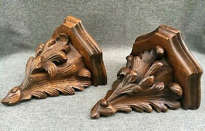 Antique pair of black forest shelves wood Early -1900's Germany woodwork leaves