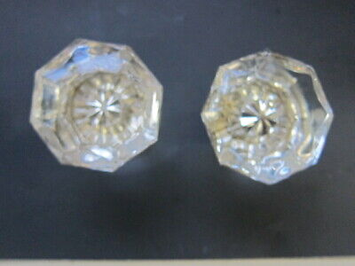 VINTAGE Door Knobs (pr) 8 pt  Glass Chrome base Clear Glass  (pair) NO CHIPS