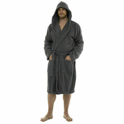 Mens and Womens 100 % Egyptian Cotton Bath Robe Hooded Dressing Gown 350 Gsm