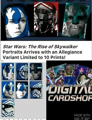 Topps Star Wars Card Trader SWCT Rise of Skywalker Portraits Blue Set of 7