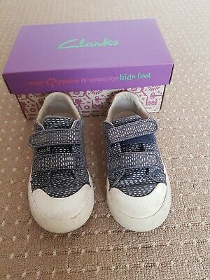 Clarks Girls Comic Cool Navy Sparkly Canvas Shoes 9-1/2 F