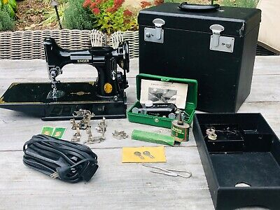 MINT 1950 Singer Featherweight Model 221-1 Sewing Machine w/clean case + extras