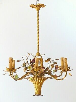 1920 Antique French 6 Arms Bronze Brass Chandelier Porcelain Flowers Basket Form